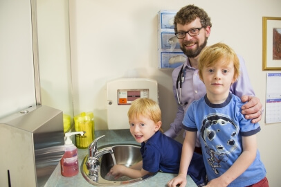 Dr. Andrew Thompson, St. Luke's infectious disease specialist, and his sons